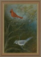 T. W Scarland - Signed Contemporary Pastel, Northern Cardinal and Blue Jay