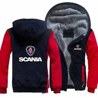 SCANIA Mens Winter Fleece Hoodie Coat Thicken Jacket Sweatshirt Zipper Tops