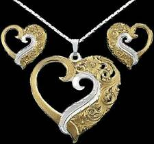 Montana Silversmiths 2 Tone (Gold and Silver) Open Heart Necklace (Triplet)