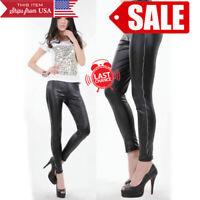 Fashion Women Faux Leather Metallic Wet Look Blue Slim Tight Leggings Pant OS US