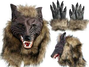 Latex Animal Wolf Head Hair Claws Werewolf Gloves Fancy Dress Scary Halloween