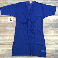 LARGE SHIRLEY LuLaRoe ~ SHEER SOLID ROYAL BLUE ~ Kimono Cover-Up; Sizes 18-22