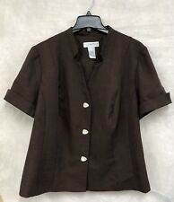Ladies Button Up Short Sleeve Brown Top By Sag Harbor Size 22W Petite