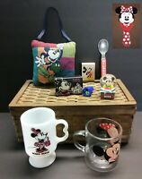 Junk Drawer Lot of 9 Mickey Mouse & Minnie Collectibles Spoon Snow Globe Mug Cup