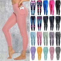 Womens High Waist Yoga Leggings Print Sport Pants Workout Gym Fitness Trousers