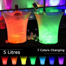 LED Colour Changing Ice Bucket 5L Acrylic Beer Cooler Champagne Drinks Wine Bar