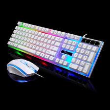 LED Backlight USB Ergonomic Gaming Keyboard Mouse Set PC Laptop Computer Desktop