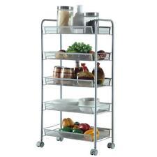Shelving Rack 5 Tier Shelf Shelves Rolling Kitchen Storage Utility Cart