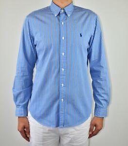 Mens Ralph Lauren Shirt Striped Blue Size M Medium Office Smart Spring Summer AW