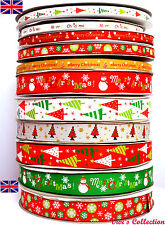 Single Sided Printed Christmas Grosgrain Ribbon Snowman Red Green Gold 9,16,25mm