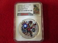 2015 IRON MAN Niue 1Oz .999 Silver Marvel's Avengers Age of Ultron NGC pcgs PF69