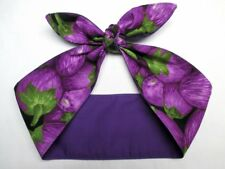Purple eggplant vegan veggie headband head scarf hair wrap rockabilly dolly bow