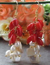 White  Pearl Red Coral Earrings gold plated hook Earrings