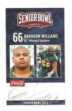 Brandon Williams 2013 SENIOR BOWL Autographed RC Signed Mis Southern Balt Ravens