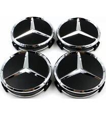 4. X Black  60 MM outer,  55 mm clips diameter Wheel Centre Caps . FITS Mercedes