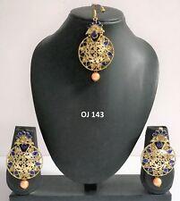 Indian Fashion Jewelry Traditional Kundan Pearl CZ Maang Tikka Earrings Set 143