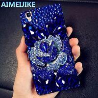3D Bling Strass Schmuck Glitter Handy Tasche Case Cover Schutz Hülle(Blau)