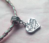 Rose Et Blanc Mélangés TRESSE Bracelet avec Charm choisir dans beacoup en