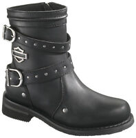 Harley Davidson HD Womens Chryse Black Leather Zip Up Motorcycle Boot