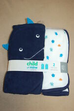 Baby Boys 2 LOT BATH TOWELS White BLUE MONSTER w/ HOOD Carter's Child Of Mine