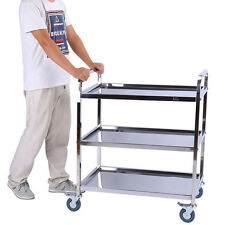 3 Tier Stainless Steel Rolling Kitchen Cart Home Food Storage Serving Trolley
