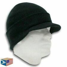 DOUBLE LAYER KNIT Black BEANIE HAT VISOR BRIM CUFF RIBBED JEEP CAP WINTER UNISEX