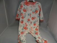 New Carter's Baby Girl One Piece Sleepwear  White with Roses 6 Months NWT