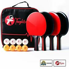 Toughito Ping Pong Paddle Set - Aero Black Ping Pong Paddles Set Of 4 All Ages