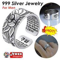 999 Sterling Silver Adjustable Open Ring Buddhist Mantra Lotus Flower Ring UK