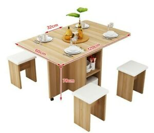 Folding Wooden Table with 4 Chairs Set, Kitchen, Kids room