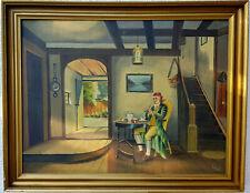 Antiquität Ölgemälde Herr Mann signiert altes Ölbild
