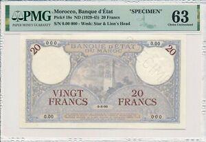 Banque d'État Morocco  20 Francs ND(1929-45) Specimen PMG  63
