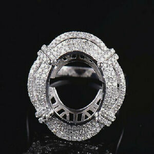 Oval 16x12MM Natural Diamond Semi Mount Women Ring Setting Solid 14K White Gold