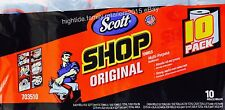 Scott Shop Towels Original Multi-Purpose Strong Absorbs Oil Grease, 10 Rolls