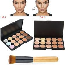 UK 15 Colours Concealer Palette kit Face Makeup Contour Cream With Brush #1 / #2