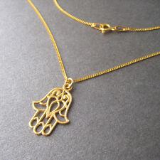 Collier motif main de Fatma Khamsa en argent 925 plaqué or jaune CO53-J
