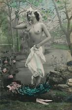 French risque Lingerie nude woman original old  photo postcard-Face