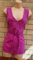MONSOON PURPLE EMBROIDERED SLEEVELESS BELTED V NECK BLOUSE T SHIRT TOP 16 XL