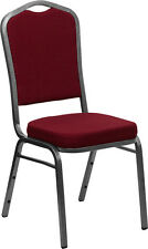 Crown Back Stacking Banquet Chair in Burgundy Fabric with Silver Vein Frame