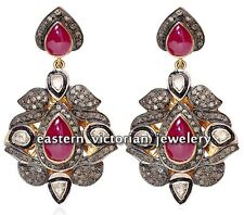 Vintage 3.47Cts Rose Antique Cut Diamond Ruby Studded Silver Jewelry Earring