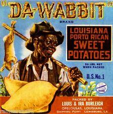 Opelousas Louisiana Da Wabbit Sweet Potato Yam Yams Vegetable Crate Label Print