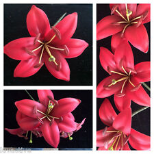 Foam Lily Flower PinUp Girl Wedding Hair Pick Red