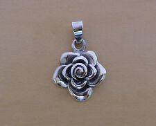 925 plata esterlina sólida, Rosa, Flor Colgante, de 15 mm de diámetro