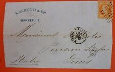 France 1869 Lettre de Marseille  à Genes -40 c. Napoleon III  Numéral 2240