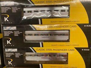 """3 Car K-Line's Aluminum New York Central 21"""" Passenger Cars K4670-40082 K4670-42"""