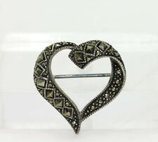 Sterling Silver Round Princess Open Heart Brooch Pin Milgrain Detail