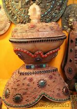"28""Tibet Buddhism Costful crystal 24K Gold Silver beryl Gem Kapala Bowl Statue"
