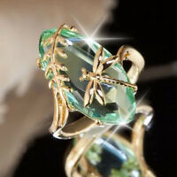Vintage Women Emerald Wedding Engagement 18K Yellow Gold Plated Ring Size 6-10