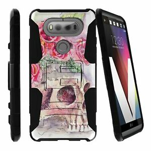 For LG V20 | V20 Dual Layer Bumper Kickstand And Holster Combo Cover - Skulls