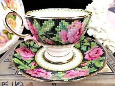 ROYAL ALBERT tea cup and saucer Needle Point rose chintz teacup pink rose 1920
